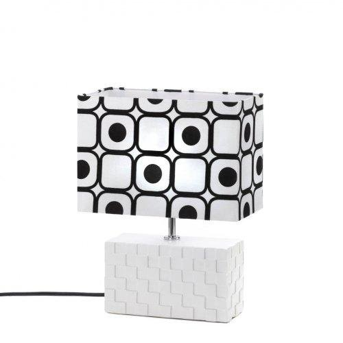 Rectangular Modern Geometric Pop Art Black And White Table Lamp, {htmlentities(Ceramic Base)} By World of Products,USA