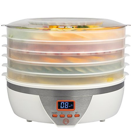 MasterChef Food Dehydrator w 5 Trays and Digital Temperature Controls- Dehydrating Machine includes FREE Recipe Guide- Overheating Protection + 8L Capacity- Dry Fruits, Vegetables Beef Jerky and