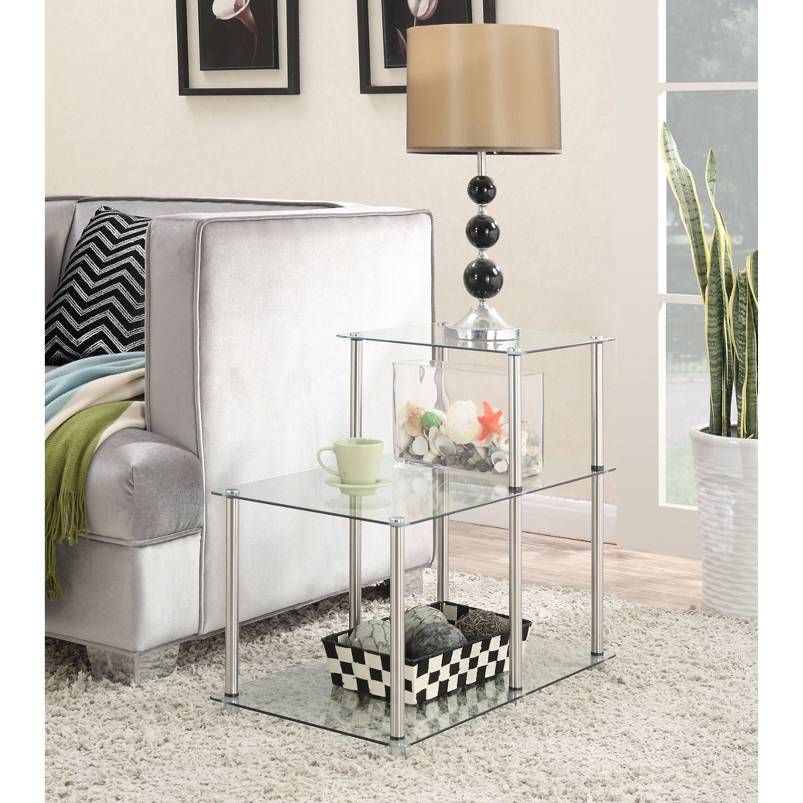 Convenience Concepts Designs2Go No Tools 3 Tier Glass Step End Table