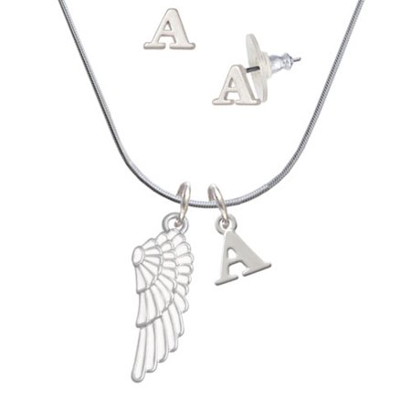 Right Angle Stud - Large White Enamel Angel Wing - A Initial Charm Necklace and Stud Earrings Jewelry Set