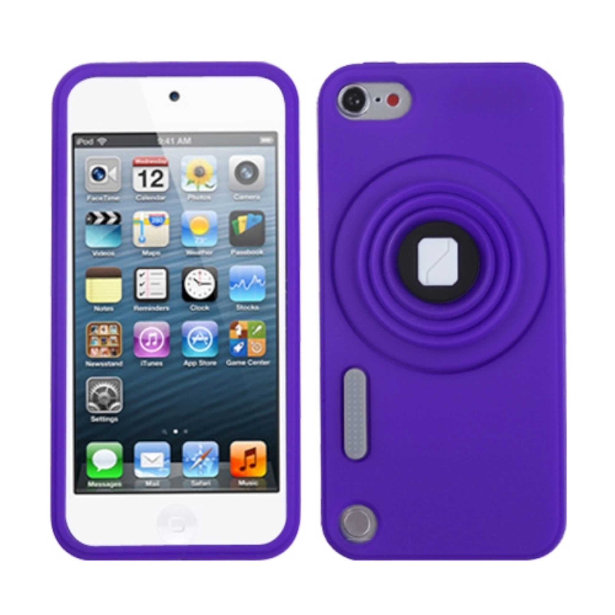 Insten Purple Camera Style Stand Pastel Skin Case (with Lanyard) for iPod touch (5 5G 5th 6 6G 6th Gen)