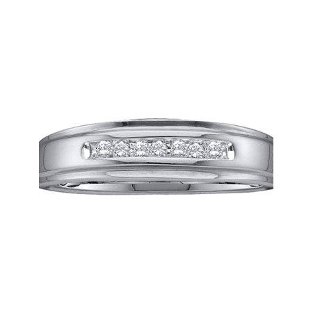(14kt White Gold Mens Round Diamond Channel-set Wedding Anniversary Band Ring 1/12 Cttw)