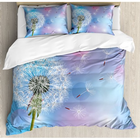 Dandelion Duvet Cover Set, Bokeh Background Flower with Wind Blowing Seeds Gardening Plants, Decorative Bedding Set with Pillow Shams, Sky Blue Pale Pink Green, by - Windy Background