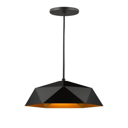 Black Iron Frame Mini Pendant Light With Gold Interior
