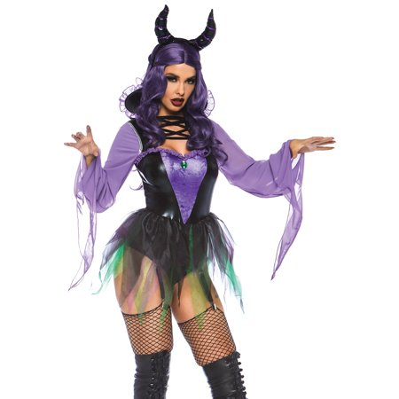 Leg Avenue Women's 2 PC Maleficent Sorceress Costume, Black/Purple, Small