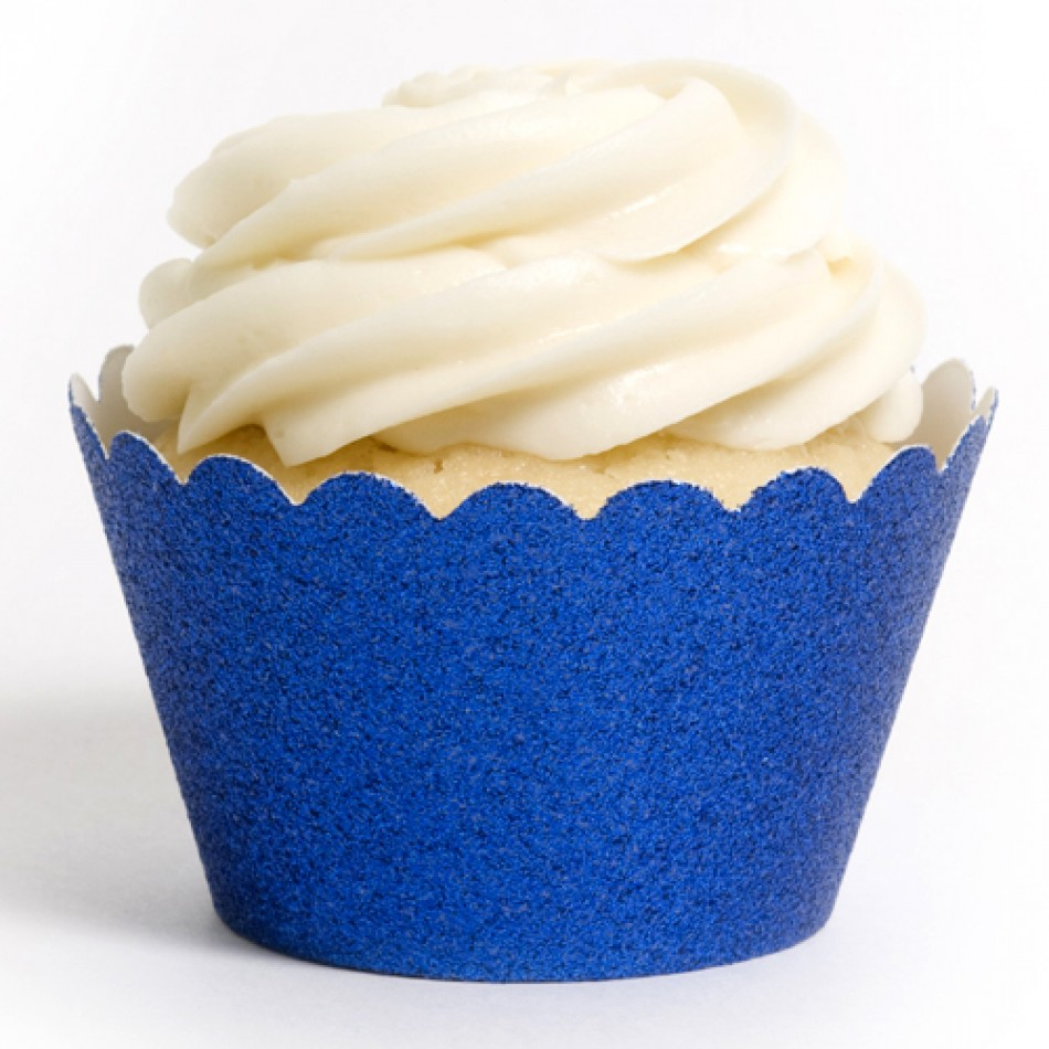 Dress My Cupcake Royal Blue Platinum Glitter Cupcake Wrappers, Set of 12