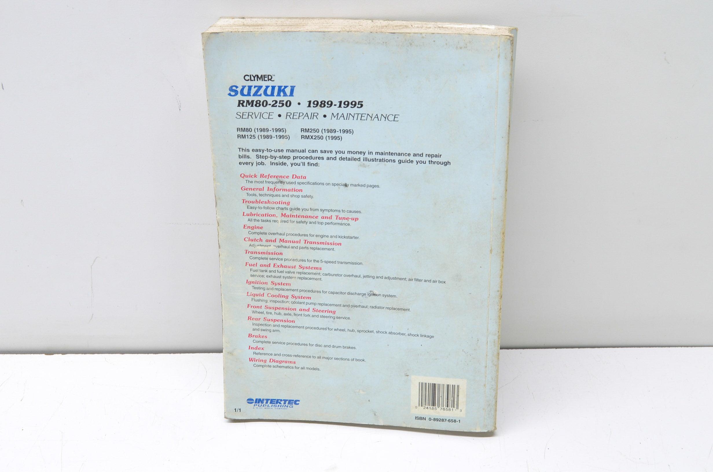 Clymer M386 1989-1995 Suzuki RM80 Service Repair Maintenance Manual QTY 1 -  Walmart.com