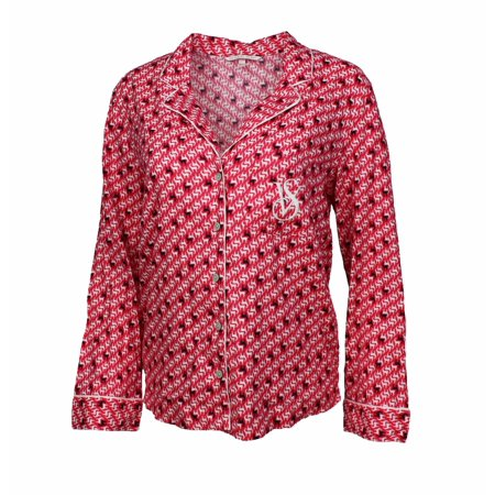 Victoria's Secret Women's Holiday Flannel Pajama Top (Red Reindeer, X-Small)