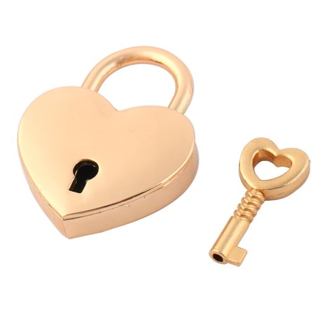 Luggage Bag Metal Heart Shaped Security Lock Padlock Gold Tone w