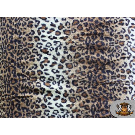 Fleece Printed Winter Fabric Leopard mocha / 58