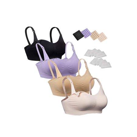 11b82abace4e2 iLoveSIA - iLoveSIA 4pack Nursing Bra Nude+Black+Light Pink+Purple Size XL  Fit 38BC 36CD 34D 34DD 32DDD 30F 40B - Walmart.com