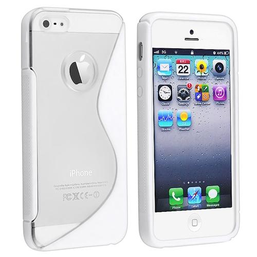 INSTEN Gummy S Shape Skin Case For Apple iPhone 5 / 5s, Clear / White