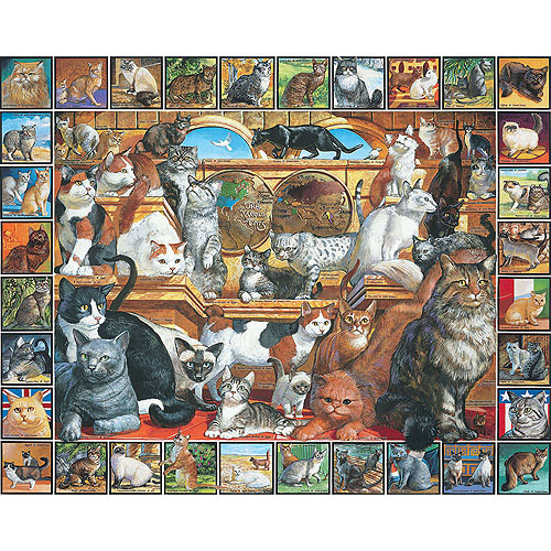 White Mountain Puzzles World of Cats Puzzle, 1000 Pieces