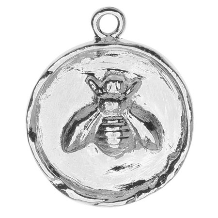 Nunn Design Charm, 20x24.5mm Bee In Circle Bezel, 1 Piece, Bright Silver](Bee Charms)