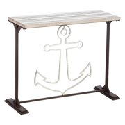 Evergreen Enterprises Metal and Planked Wood Anchor Hall Table