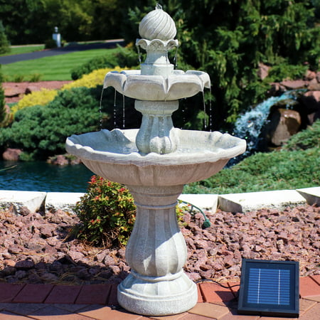 Sunnydaze Two Tier Solar Power Outdoor Water Fountain, White Earth, 35 Inch Tall