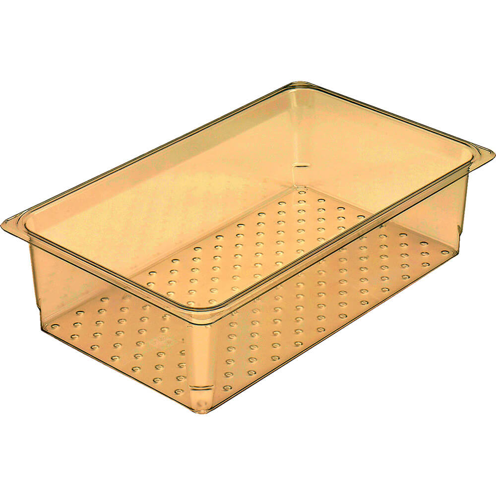 """Cambro High Heat Perforated Pan / Colander, 1/1 GN, 5"""" Deep, 6PK, Amber, 15CLRHP-150"""