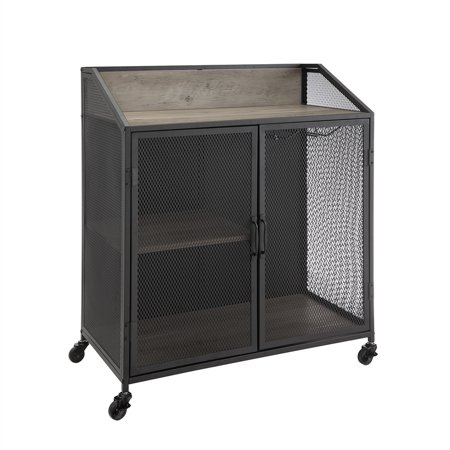 33 inch Industrial Grey Wash Bar Cabinet with Mesh