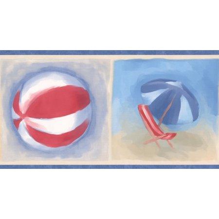 Beach Flip Flops Ball Chair Umbrella Bucket and Shovel Blue Red Beige Wallpaper Border for Kids Bathroom Bedroom, Roll 15