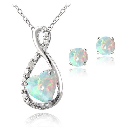 1.1 Carat T.G.W. Created Opal and Diamond Accent Sterling Silver Infinity Pendant and Earring Set, -