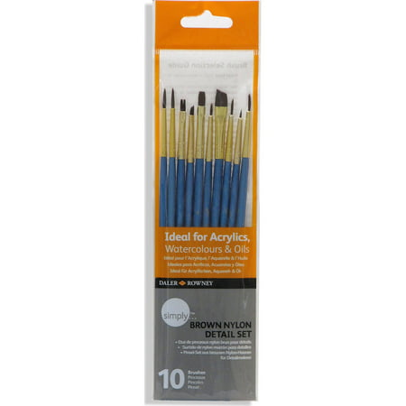 Cheap Paint Brushes (Daler-Rowney Simply Brown Nylon Detail Brush Set, 10)