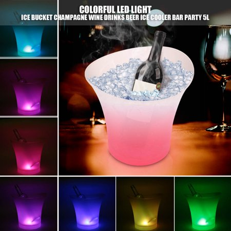 5L LED Color Changing Ice Bucket Champagne Wine Chiller Drink Cooler Retro For Happy Party Bar Home Hotel KTV US