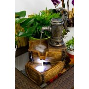 """Alpine Corporation 14"""" Two-Tier Pump Barrel Tabletop Fountain with LED Light"""