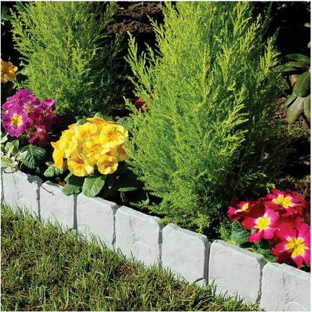 Yosoo 10 pcs Garden Edging Border, Grey Cobblestone Flower Bed Border ()