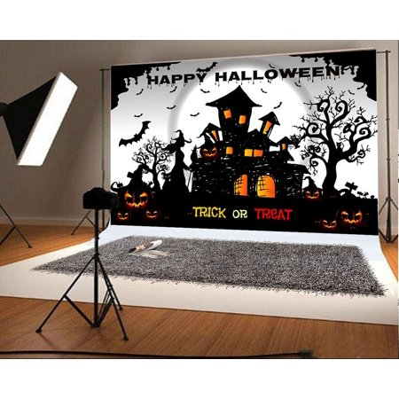GreenDecor Polyster 7x5ft Happy Halloween Photo Background Pumpkin Face Castle Backdrops for Photographer Photography Backdrops - Halloween Streamer Backdrop