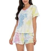 Pajamas Set Short Sleeve Sleepwear Womens Tie Dye Cotton Nightwear Soft Pj Lounge Sets Ladies Baggy Tops V-Neck Add Casual Elastic Waist Pocket Shorts