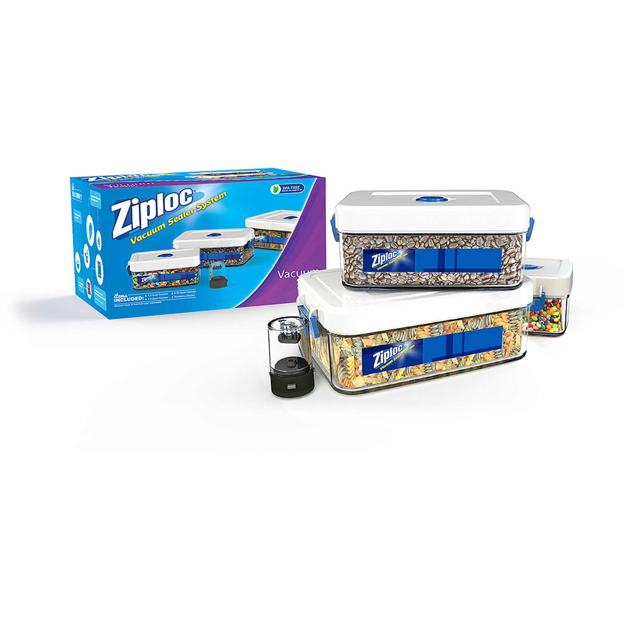 Ziploc 3-Piece Canister Set with .75L, 1.0L, 1.5L and Adapter