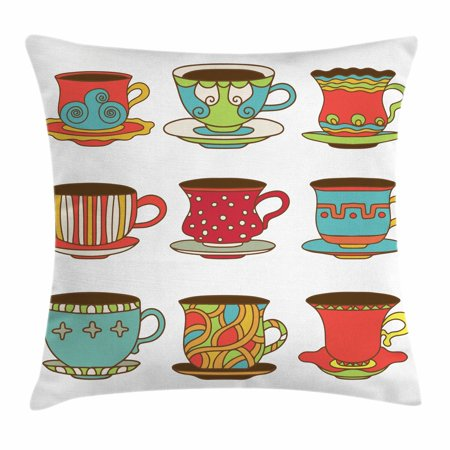Tea Party Throw Pillow Cushion Cover, Colorful Vivid Teacup Design Cartoon Drawing Style Breakfast Brunch Illustration, Decorative Square Accent Pillow Case, 18 X 18 Inches, Multicolor, by Ambesonne