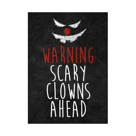 Warning Scary Clowns Ahead Print Creepy Clown Face Picture Halloween Seasonal Decoration Sign  Aluminum - Scarey Clown Face