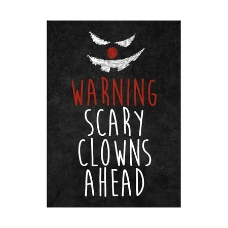Warning Scary Clowns Ahead Print Creepy Clown Face Picture Halloween Seasonal Decoration Sign  Aluminum Metal