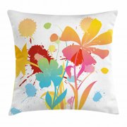 Colorful Throw Pillow Cushion Cover, Hawaiian Beach Party Theme with Lively Flowers Abstract Summertime Composition, Decorative Square Accent Pillow Case, 20 X 20 Inches, Multicolor, by Ambesonne