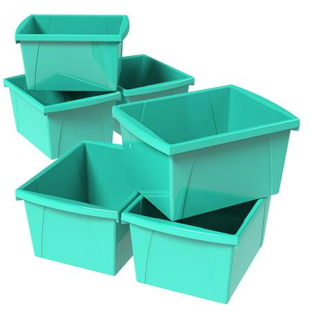 Storex 4 Gallon/15L Classroom Storage Bin,Teal (6 units/pack)](Classroom Storage)