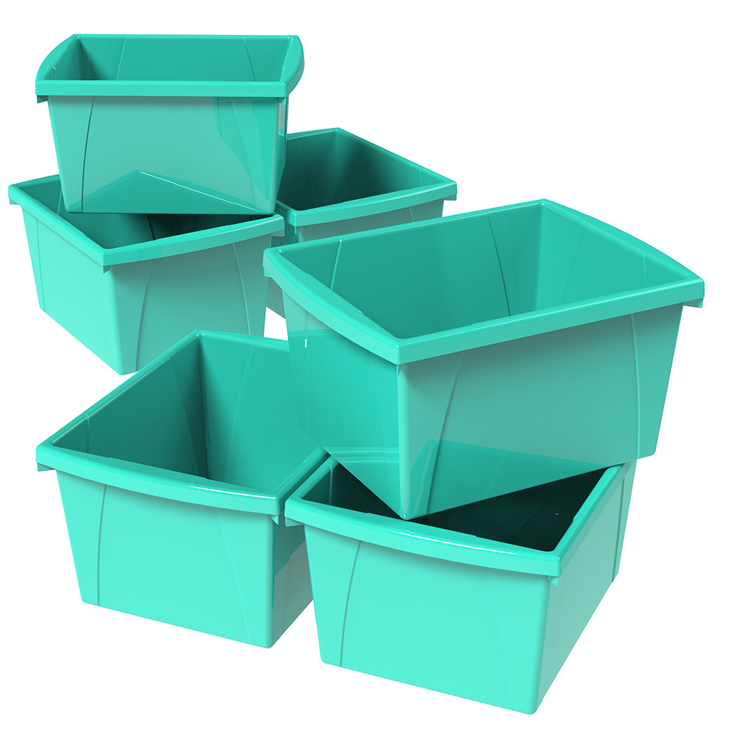 Storex 4 Gallon/15L Classroom Storage Bin,Teal (6 units/pack)