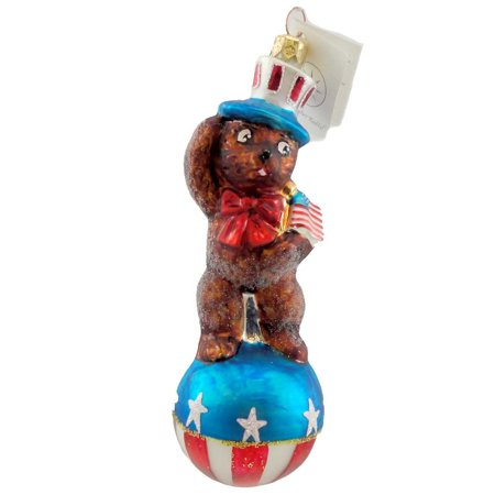 Christopher Radko TEDDY FOR PRESIDENT Blown Glass Ornament Patriotic Uncle Sam