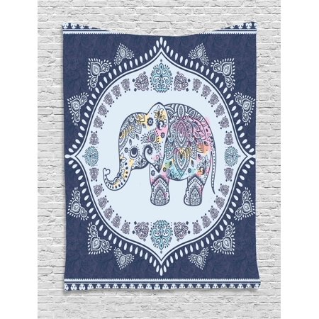 Ethnic Tapestry, Bohemian Elephant Figure with Gypsy Inspirations Spiritual Oriental Figures Graphic, Wall Hanging for Bedroom Living Room Dorm Decor, Navy Blue, by Ambesonne - Oriental Wall Decor