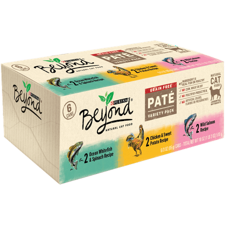 Purina Beyond Grain Free, Natural Pate Wet Cat Food, Grain Free Pate Variety Pack - (6) 3 oz. Cans