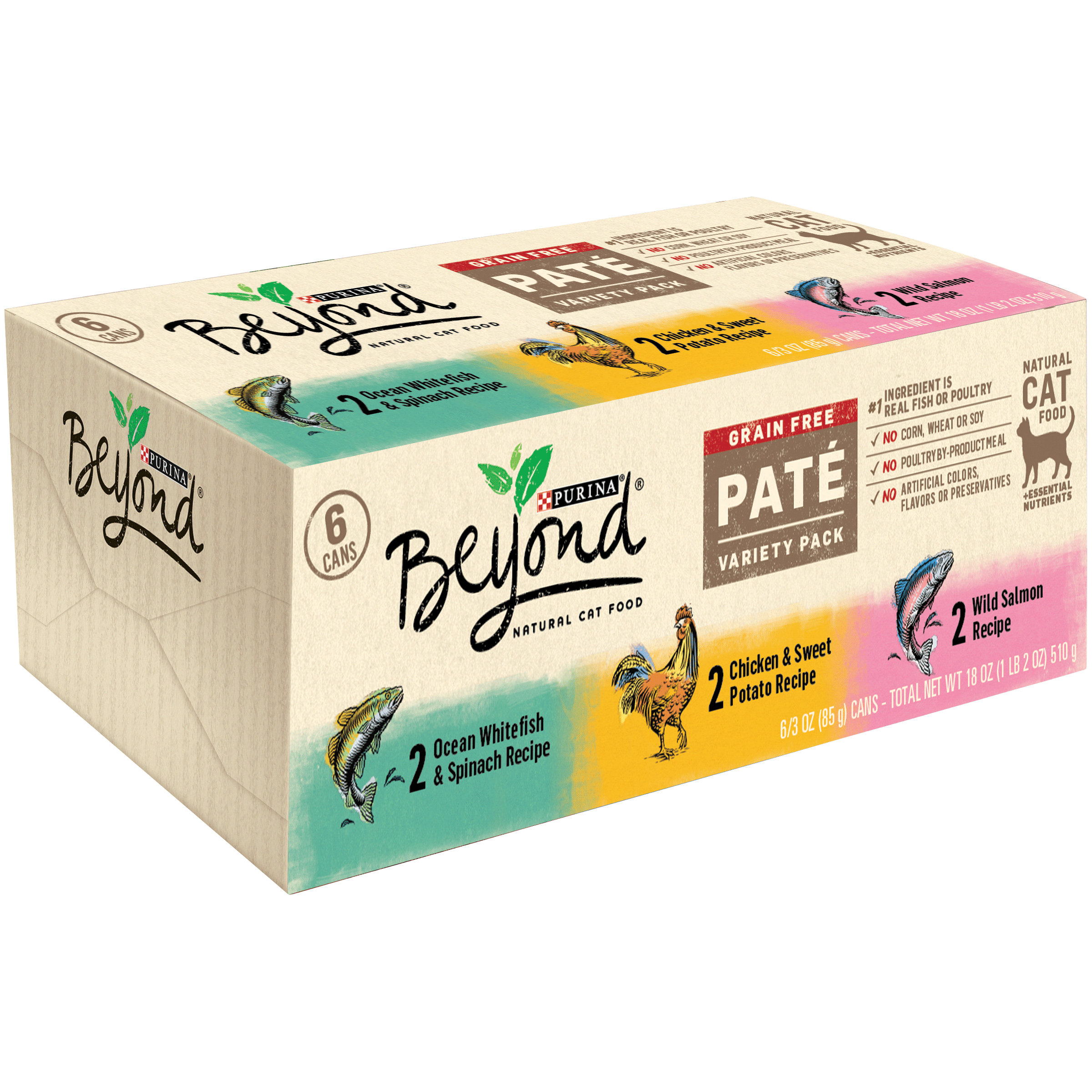 Purina Beyond Grain Free Pate Adult Wet Cat Food Variety Pack, 3-oz cans, Pack of 6