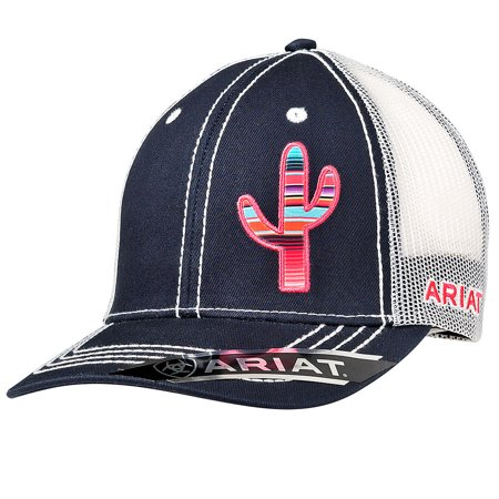 ARIAT OFFSET SERAPE CACTUS MESH BACK ADJUSTABLE SNAP CLOSURE LADIES CAP NAVY