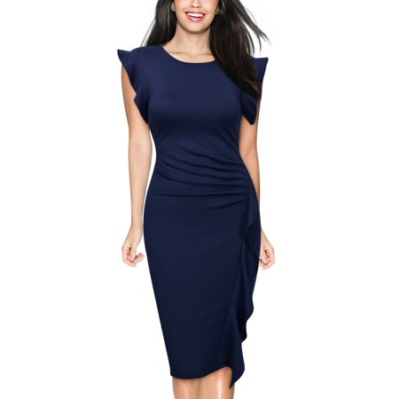 Women's Formal Work Pencil Dresses,Retro Ruffle Cocktail Party Bodycon Dresses (Navy