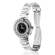 Crystals 18K White Gold Plated Womens Watch with a Water Resistant Black Watch Face Surrounded Swiveling Crystals and an Adjustable Band