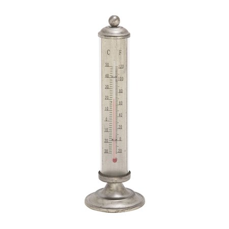 Stylish Metal Thermometer Lend An Exciting And Unique Touch To The Interior With This Metal Thermometer, Featuring Attractive Yet Simple Design. This Thermometer Is Crafted From Metal And Dyed In Silver Color. The Details Illustrations And Marking Are Clearly Embossed On It, Making It Easy To Read. Functional And Decorative, This Thermometer Would Be Great Addition To Your Home. This Thermometer Will Determine Accurate Temperature Of The Climate. This Thermometer Is Easy To Relocate And Easy To Clean As Well. This Metal Thermometer Can Be Placed On Side Table, Console Able, Mantel Etc. Not Just Home Interior This Thermometer Can Be A Part Of Outdoor And Office Interior As Well. This Thermometer Can Be Gifted To Friend Of Yours Who Has Antique Love. The Thermometer Is Stylish And Looks Stunning On Any Table And In Any Style Interior. Want It Then Get It Home Right Away!