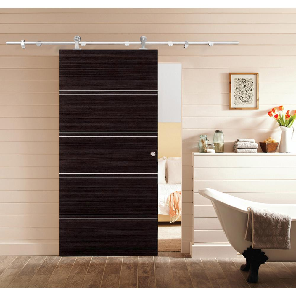 Calhome Top Mount 79 In Stainless Steel Barn Style Sliding Door