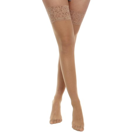 1abf14338 Women Silk Reflections Lace Top Sheer Thigh High Stockings DADEA -  Walmart.com