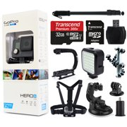 GoPro HERO+ LCD Camera Camcorder (CHDHB-101) with 32GB MicroSD Card + Selfie Stick Monopod + Opteka X-Grip Action Stabilizer + LED Video Light + Chest Strap + Car Dash Mount + Car Charger & More