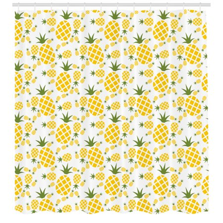 Green And Yellow Shower Curtain Rhombus Pineapple With Blooming Foliage Organic Food Design Fabric