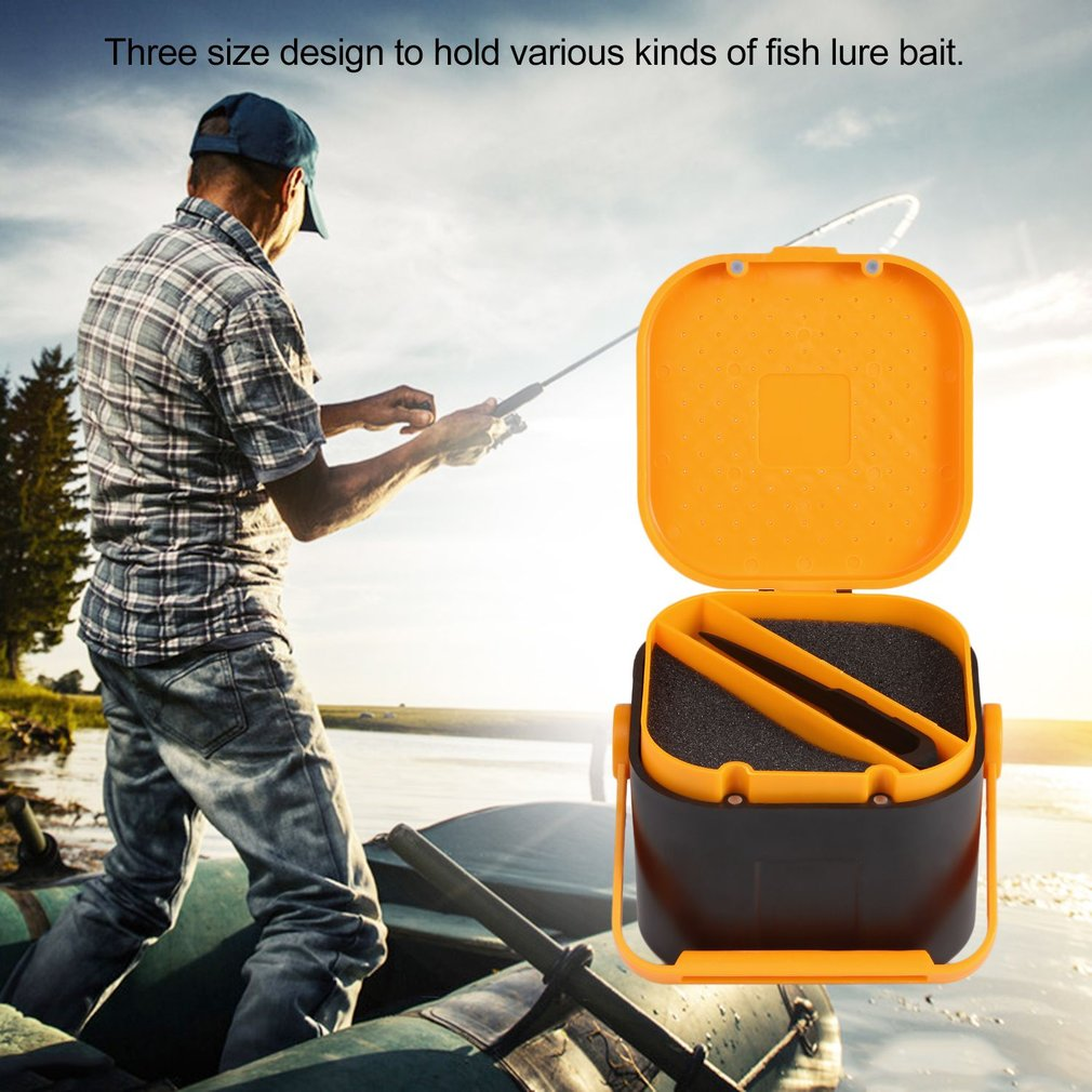 2 Compartments Fishing Tackle Box Fishing Accessories Case Storing Fish Lure Bait Hooks Tool Lure Bait Tackle Storage Box